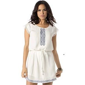 Miss Me White Blue Embroidered Eyelet Lace Dress